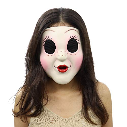 The Strangers Halloween Masks (Cafele The Strangers Dollface Mask Latex Trick Face Mask for Halloween Cosplay)