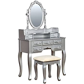 HOMES: Inside + Out Idf DK6845SV Gala Transitional Vanity Table With Stool,  Silver