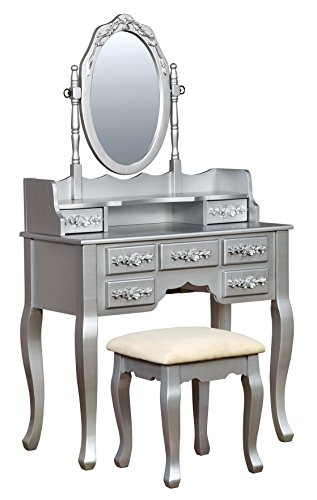 HOMES: Inside + Out IDF-DK6845SV Gala Transitional Vanity Table with Stool, Silver - Bedroom Vanity