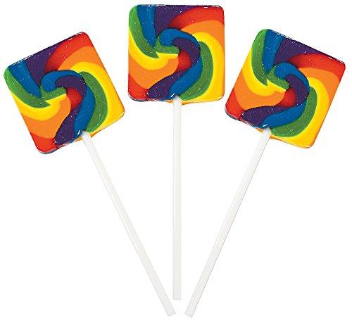 (Rainbow Square Swirl Pops (24 Pack) 1 3/4
