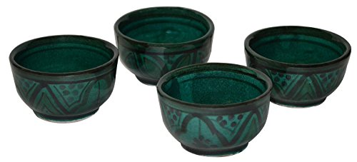 Moroccan Handmade Serving Bowl Set of 4 Small Dipping Sauce Butter Olive Oil Green -