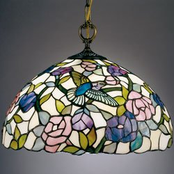 Dale Tiffany 7655/1LTA Hummingbird 1-Pendant Light , Antique Brass and Art Glass Shade