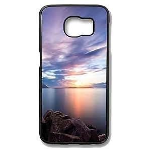 Samsung Galaxy S6 Edge Case - Nordic Lake Sunset Ios7 Beautiful Slim Bumper Case with Soft Flexible TPU Material for Samsung Galaxy S6 Edge Black