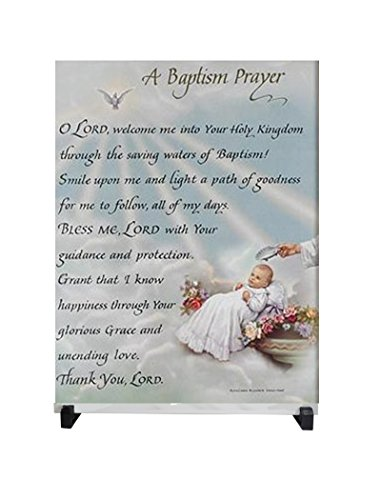 A Baptism Prayer 12 x 8 Porcelain Tile Plaque Altar Includes Easel and a Blessed Laminated Guardian Angel Card with Gold Accents