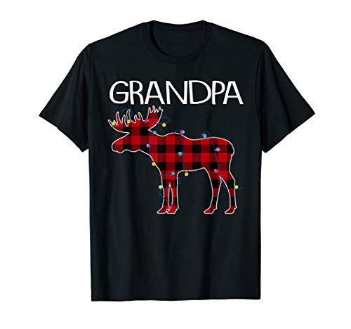 Grandpa Moose Plaid Red lights Christmas Matching Family T-Shirt