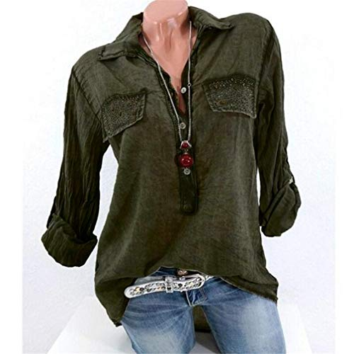 S Sexy Fashion Tee Color Neck Verte Chemisier 5Xl V LULIKA Womens Arme Shirts Tops Shirt Reverse Pure Pocket 76qg48
