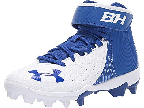 Under Armour Boys' Harper 4 Mid RM Jr. Baseball Shoe, Royal (400)/White, 5 by Under Armour