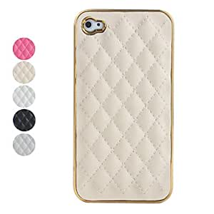 JOE Grid Pattern PU Leather Case for iPhone 4 / 4S (Assorted Colors) , Black
