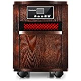 Homeleader Cabinet Infrared Quartz Heater, Space Heater with Remote Control, Timer and Movable Wheels, 1500W, Wood Cabinet Oak, IWH-01