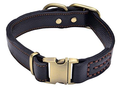 Sindello Genuine Leather Pet Dog Collar Durable and Comfortable Adjustable S M L Black Brown (M, Black)