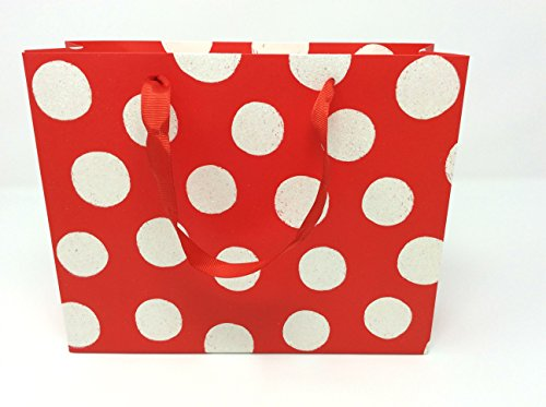Style Design (TM) Dozen Gift Bags - 12 Beautiful Medium Vogue Gift Bags for Presents, Parties or Any Occasion (Medium, Red with Polka Dots)