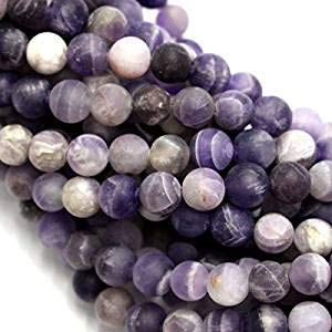 Natural Color Genuine Unpolished Matte Amethyst Round Real Gemstones Loose Beads for Jewerly Bracelet Making (AB 8MM)