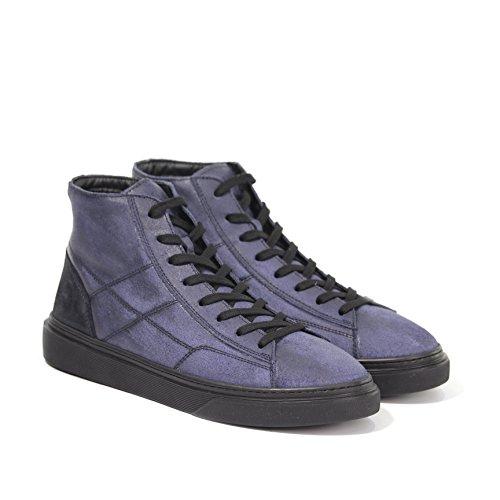 Hogan Sneakers H340 in Pelle Uomo MOD.HXM3400J560HTQ297Q Monogramma H Laterale Impunturato Blue