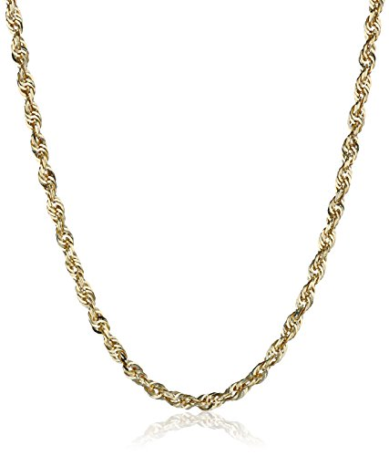 14k Yellow Gold Solid Diamond-Cut Rope Chain Necklace (2.5mm ), 18