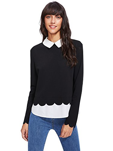 Floerns Women's Contrast Collar Hem Long Sleeve Blouse Top Black M