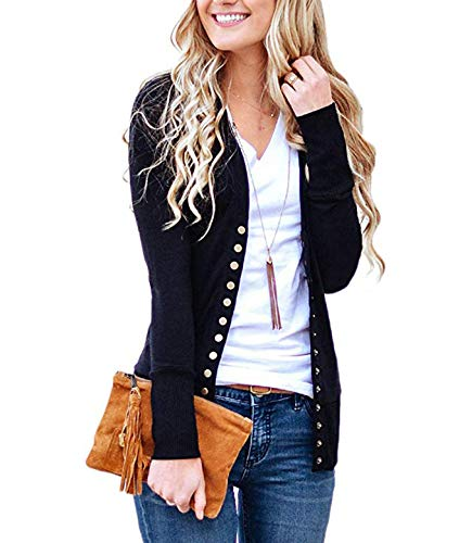 Weilim Women's V-Neck Button Down Knitwear Long Sleeve Casual Cardigans Sweater Black L ()