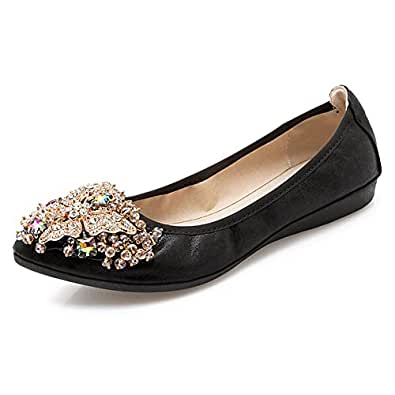 Meeshine Women's Wedding Flats Rhinestone Slip On Foldable Ballet Shoes Black 5.5 US