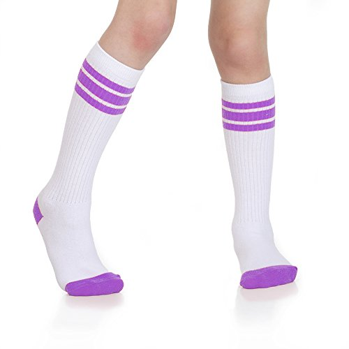 - Baby, Toddler & Kids Knee High Tube Socks For Boys & Girls With Grips (4-6 Years (Shoe Size 9C-1), White/Purple)