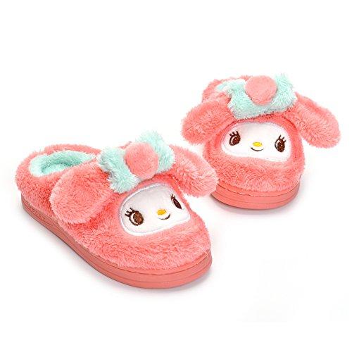 Toddler Girls Pink Bunny Slippers Children Cartoon Cute Rabbit Winter Warm Plush Fur Shoes by Matt Keely (Image #1)