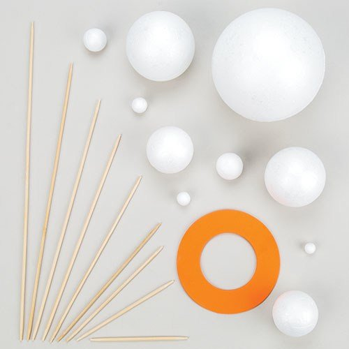 (Make Your Own Solar System Kits with Various Sizes Polystyrene Balls, Foam Pieces &Wooden Sticks for Kids Science Projects(Pack of 2 Kits))