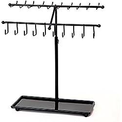 Adjustable Height Black Metal 30-Hook Necklace / Bracelet Jewelry Organizer Display Rack by Arad