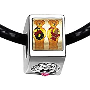 Chicforest Silver Plated happy family Christmas Photo Light Rose Crystal October Birthstone Flower Charm Beads Fits Pandora Bracelet