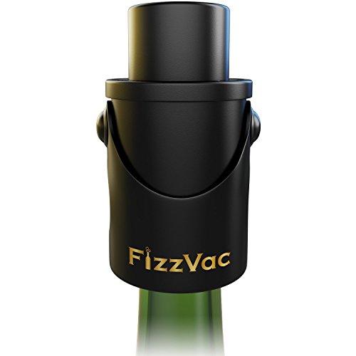 - FizzVac Vacuum Champagne Stopper in Black Satin Gift Bag, Set of 2
