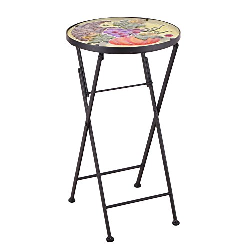 Joveco Hand Painted Style Multicolor Artscape Accent Glass Top Round Side Table Plant Stand, Foldable - Grapes and Pumpkin ()