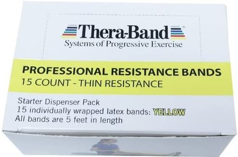 TheraBand Resistance Bands, 5 Foot, 15 Count Professional Latex Elastic Bands For Upper & Lower Body Exercise, Physical Therapy, Pilates, Home Workouts, Rehab, 黄, Thin, Beginner Level 2