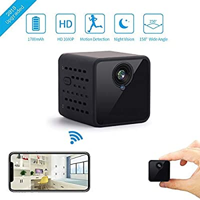 Mini WiFi Hidden Camera, JOYTRIP Wireless HD 1080P Spy Camera Built-in 1700mAh Battery Longer Usage Time Home Security Nanny Cam with Motion Detection/Night Vision/Cell Phone App for iPhone/Android from Joytrip