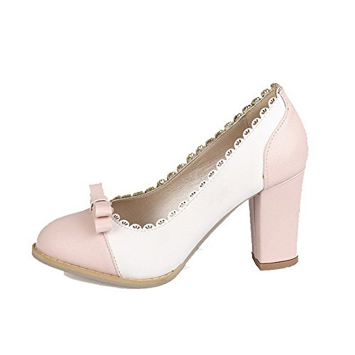 AllhqFashion Womens High-Heels Closed-Toe Assorted Color Pumps-Shoes Pink pXaHWl
