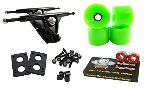 Longboard 180mm Trucks Combo w/70mm Wheels + Owlsome ABEC 7 Bearings (Solid Green)