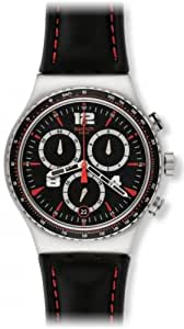 Swatch Irony Pudong Chronograph Black Dial Black Leather Strap Mens Watch YVS404