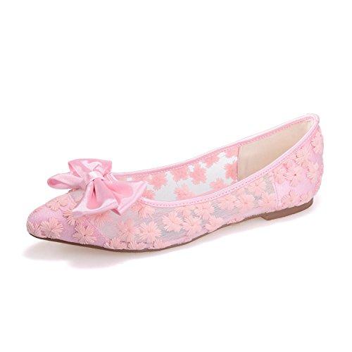 L@YC 2046-17 Frauen Flache Hochzeit Schuhe Seide Schließen Toe Lace Hochzeit & Nacht Feine Sandalen Pink