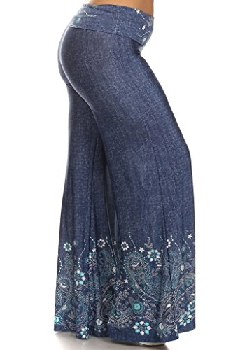 (Plus Size) Denim Print High Waisted Full Length Palazzo Pants (MADE IN U.S.A)