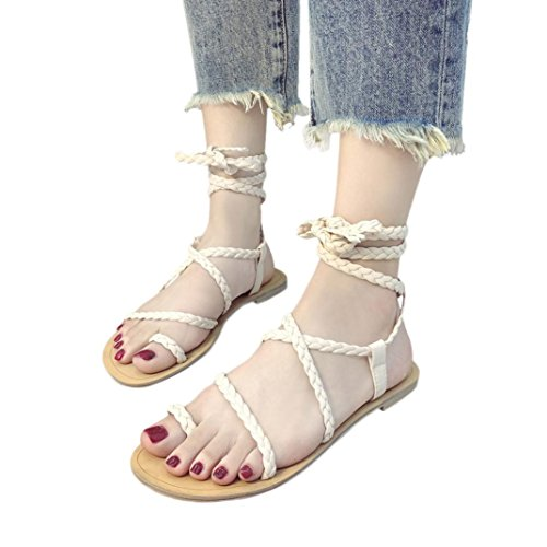 HLHN Women Sandals,Roman Gladiator Ankle Cross Strap Flat Heel Flip Flops Open-Toe Shoes Casual Vintage Lady Beige