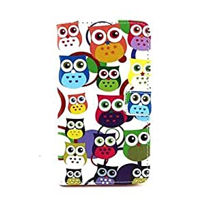 TOPMM Cartoon Owls Pattern PU Leather Full Body Case with Stand and Card Slot for Samsung Galaxy Note 4