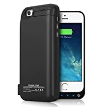 iPhone 5S 5C 5SE Battery Case, YISHDA 4200mAh External Battery Backup Charger Case Pack with USB Power Bank for iPhone 5/5s/5c/se - Black