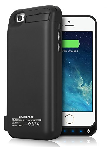 iPhone 5S 5C 5SE Battery Case, YISHDA 4200mAh External Battery Backup Charger circumstance Pack using USB ability Bank for iPhone 5/5s/5c/se - Black