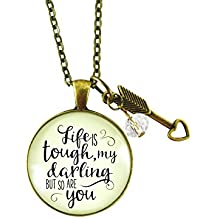 """24"""" Life is Tough My Darling But So Are You Necklace Vintage Bronze Style Glass Pendant Arrow Heart Charm"""