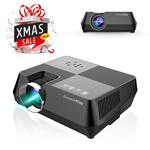 Video Projector Movie Home Theater +30% Lumens Portable Led Projector Mini Projector Up 170 inches Display Support Full HD 1080P HDMI USB VGA AV for iPhone Laptop Android Smartphone PS4