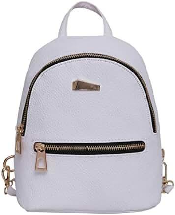 PU Leather Backpack Bags,Hemlock Girls Travel Handbag School Rucksack Bag (White)