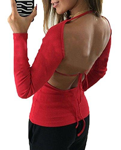 OUFour Maglie a Collo Camicie Senza Bandage Rosso Tinta Manica Rotondo Sottile Donna Unita Tops Maglietta Lunga Schienale Blusa CrBwpCq