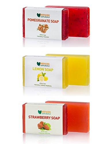 Fruity Soap Bar Trio (Pomegranate/Lemon / Strawberry) Natural Glycerin Soap 3.5 Ounces ea. (Pack of 3) (Strawberry Soap Bar)