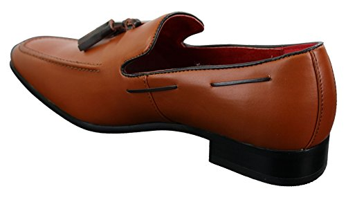 Mens Slip On Tan Brown Tassle Driving Loafers Shoes Leather Smart Casual Brown rtkiXn