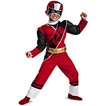 Power Rangers Ninja Steel Toddler Muscle Costume, Red, Large (4-6)