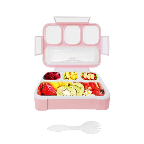 Bento Boxes for Kids,Qinner Lunch Box for Children with Spork |Food Safe Durable Leakproof Food Container for On-the-Go Meal Travel School & Kids Eating