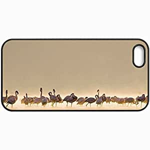 Customized Cellphone Case Back Cover For iPhone 5 5S, Protective Hardshell Case Personalized Birds Flamingo Nature Black