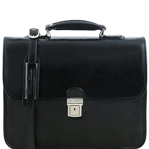 81413544 - TUSCANY LEATHER: VERNAZZA (N) Cartable Porte ordinateur en cuir porte ordinateur avec 3 compartiments, noir