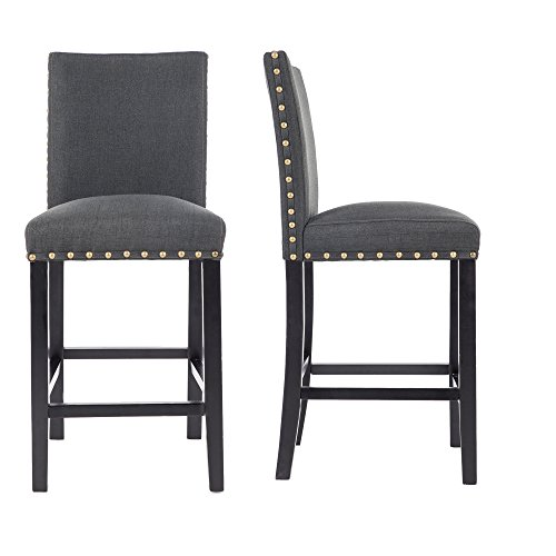"""GOTMINSI Nailhead 24"""" Counter Height Stools Upholstered Bar Stools with Solid Wood Legs, Set of 2 (Charcoal)"""